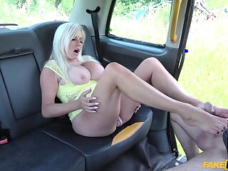 Blonde with huge tits, intriguing XXX cab sex on cam