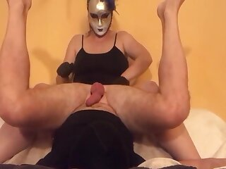 Femdom Fuck up puff up milking cock with gloves