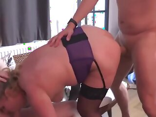 dad and stepson sharing mature mother