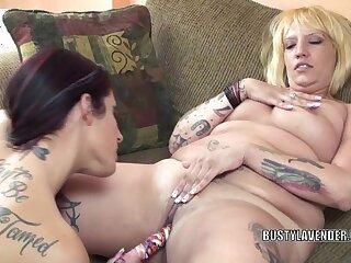 Lesbian whore Lavender Rayne bonks aged plumper Lexxi