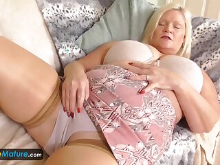 EuropeMature Busty granny Lacey has gungy cunt