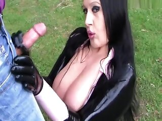 Catsuit Blowjob Handjob with Latex Gloves - I show you my Pussy - Fuck my nasty Mouth - Cum upstairs my Latex Gloves