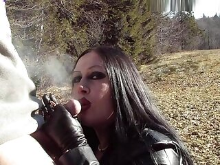 Outdoor Take cover Blowjob Handjob - Smoking - Cum on my Tits