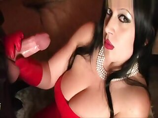 Red Ease Leather Lady - Blowjob Handjob with Red Leather Gloves - Swell up my Balls - Fuck my Pussy - Cum to my Face