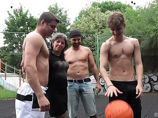 Untrained granny gets fucked near gangbang on eradicate affect basketball court