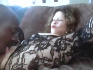 Hot grandma squirting while get clit licked increased by fingered