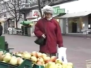 Hot granny gets fucked coupled with creampied by young man