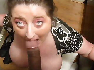 Huge soul spliced sucking bbc and drink cum
