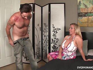 Horny mendicant demands that Amber Back helps him jerk off his dick