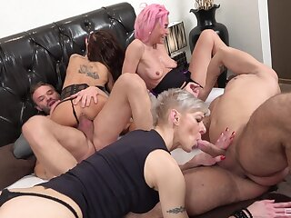 Wild orchestrate coitus party with two dudes and three erotic babes. HD