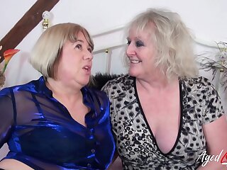Two horny pornstars Auntie Trisha and Claire Manful have coition with two heavy cocks