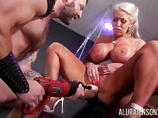 Mature pornstar Alura Jenson nearby massive fake breasts having sex