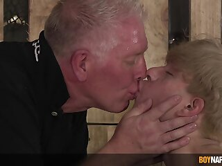 Hardcore torture session between a mature perv and younger bush-leaguer