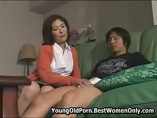 Hot Japanese Milf Caught Young Friend And Masturbates