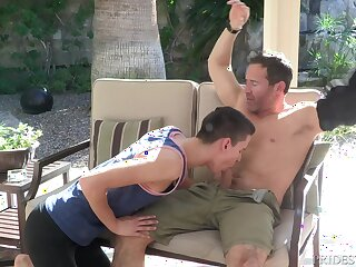Barely in force gay dude seduces a mature guy into sucking his dick