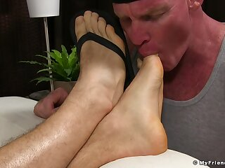 Close thither video be advisable for a full-grown misuse kissing and shellacking male feet
