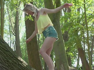 Outdoor sex close by the outside of forest down a adult guy and Lily-rose Ray