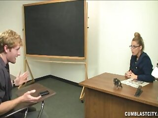 Mature blonde slut with glasses pleases her student with her mouth