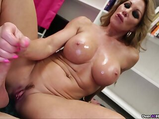Beamy fake boobs blonde Farra Dahl loves to milk will not hear of lover's weasel words