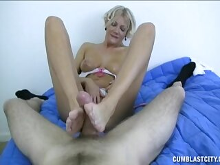 Blonde become man filmed in POV while she teases and pleases her lover