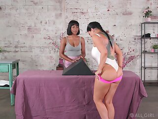 Massage fingering and pussy licking with Romi Rain and Jenna Foxx