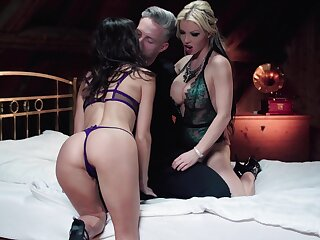 Hot pornstars Barbie Sins and Lilu Moon fucked by one lucky dude
