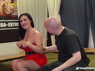 Brunette slut gets their way first ever gangbang and she enjoys it