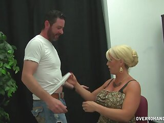 Blonde fit together with chubby fake tits pleasures a guy with say no to feet