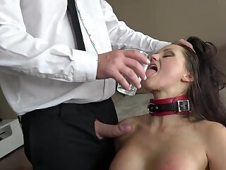 Duteous MILF pleases horny boss just about insane BDSM porn