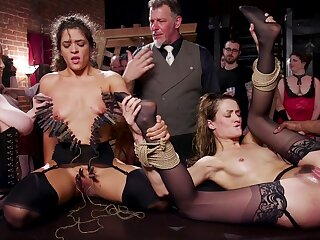 Both sluts stomach a hot saddle with of cum verification intensive gangbang