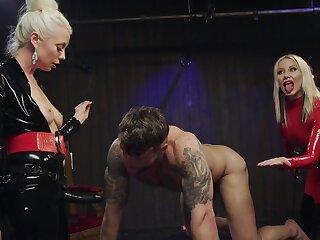 Dirty female domination on man's ass cleft during ballpark XXX BDSM