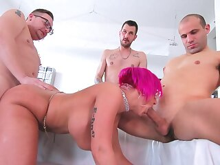 Three hard up persons fuck the spoken for cougar until she swallows their jizz