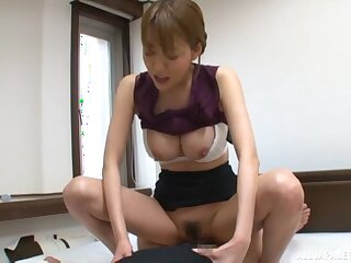 Hot Japanese secretary pleases her boss with a good shag