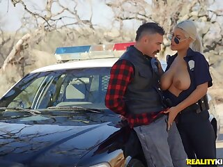 Busty female patrolman treats myself with a big locate