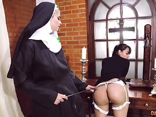 Crazy nun lesbian fetish with several astounding battalion