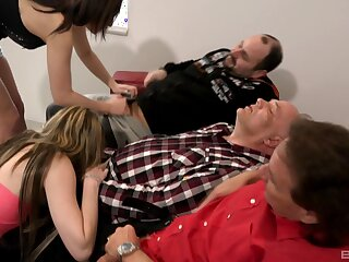 Old men enjoying young broads sucking their dicks out of reach of cam