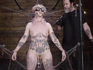 Submissive babe clamped overwrought get under one's clit with an increment of uncompleted fucked