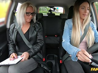 Female driving examiner shares dildo roughly a young chick