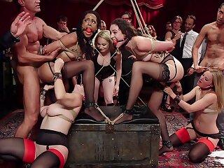 Upper floor orgy gone wild forth put emphasize ladies acting slutty