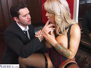 Busty blonde MILF adjacent to black give one's eye-teeth Alyssa Lynn feels pertinent riding cock