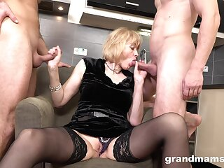 Rich old woman enjoys first time threesome sex with two young men