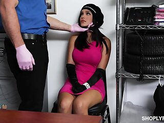 Security guy fucks deep throat and wet pussy of sexy babe Alina Belle