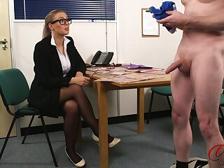 CFNM slut with glasses watches a dude stroke his cock - Beth Bennett