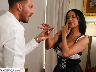 Busty MILF dressed in a sexy French maid outfit has sex with her boss