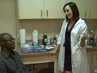 Female nurse is keen to try this guy's huge black dick in her ass
