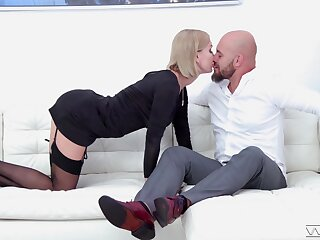 Crazy couch sex with a skinny blonde babe acting all sensual