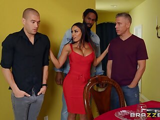 Excited MILF ass fucked in a rough scene by three naked men