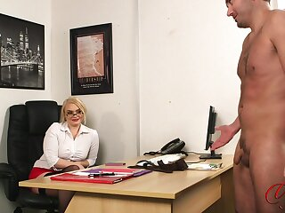 Perv blonde boss Steph Lockhart watches her attachment masturbating