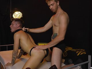 Naked lads share their bareback resign oneself to in a fine domination game