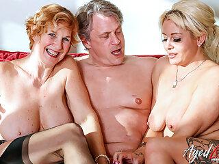 AgedLovE A handful of Blonde Ladies Steadfast Threesome Sex